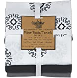 Kay Dee Designs Café Express Collection Medallion Flour Sack Cotton Towels, 26-Inch by 26-Inch, Charcoal, Set of 3