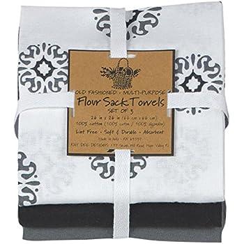 Kay Dee Designs Café Express Collection Medallion Flour Sack Cotton Towels,  26 Inch By