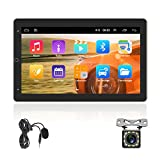 AMPrime Double Din Car Stereo Radio with Bluetooth 10 Inch 1080P Touch Screen FM Receiver MP5 Car Multimedia Player Support Mirror Link , WiFi,GPS, Switch Screen + 12LED Backup Camera + Extra Mic