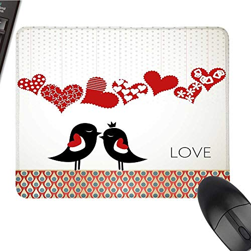 LoveCustomize Mouse padQueen and King Bird Couple Kissing Hanging Valentines Heart and Abstract PatternCustomized Mouse Pad 9.8