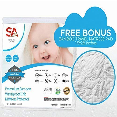 Crib Mattress Protector for Baby.Premium Bamboo 100% Waterproof Cotton is Soft, Breathable & Hypo Allergenic. Repels Bed Bugs & Dust Mites. Breathable for Better, Comfortable Sleep. Bonus Travel - Allergy Cover Mattress Crib