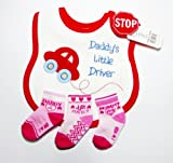 Baby Bib with Red Car & Pink Socks 0-3 Months