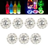LED Coasters,led coasters for drinks - Wine Liquor Bottle Clear Glass Cup Coaster,Led Bar Night Club Party Drink,Bar, Wedding, Party Decorations 40 Pack (Multicolor)