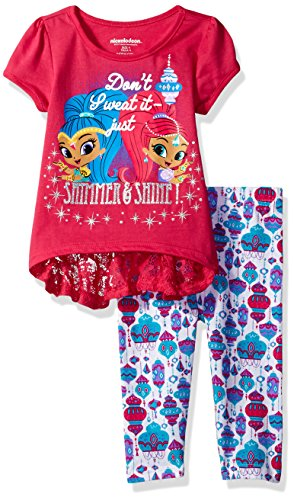 [Nickelodeon Toddler Girls' 2 Piece Shimmer and Shine Tee and Short Set, Genie Pink, 2t] (Genie Outfit)