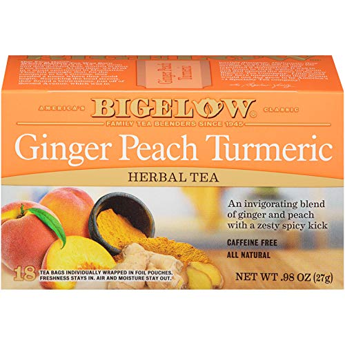 (Bigelow Tea Ginger Peach Turmeric 18Count (Pack of 6) Caffeine-Free Individual Herbal Tisane Bags, for Hot Tea or Iced Tea, Drink Plain or Sweetened with Honey or Sugar)