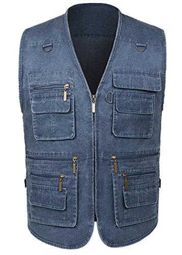 Cotton Zip Vest - Alipolo Hunting Vest Mens Summer Cotton Leisure Outdoor Plus Size Fishing Vest Blue-1 US L/Label 2XL