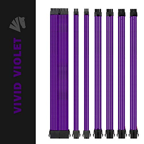 Extension Cable Kit - Asiahorse Customization Mod Sleeve Extension Power Supply Cable Kit 18AWG ATX/EPS/8-pin PCI-E/6-pin PCI-E (Purple)