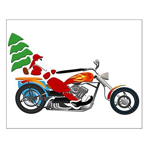 Small Poster Holiday Biker Santa on his Motorcycle/Chopper
