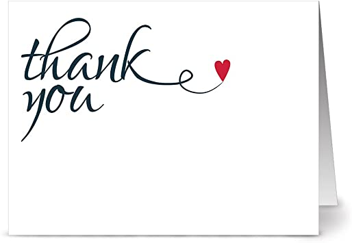 Amazon.com : Note Card Cafe Thank You Cards with Red Envelopes ...