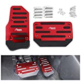 FLY5D Universal Racing Sports Non-Slip Non Slip Sports Aluminium Alloy Automatic Car Auto Vehicle Pedal Foot Treadle Foot Brake Cover Pad (AT Car Pedals, Red)