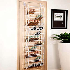 Modrine Huge over the Door Shoe Rack Shoe Organizer, 36 pairs (White)