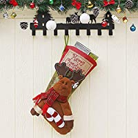 GEANBAYE Exquisite Advanced Christmas Stockings With Large Size And Luxury 3D Elk Santa Claus Or Snowman