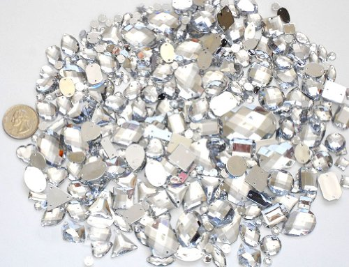 LOVEKITTY 350 pcs lot - Sew-On Gems -Clear Mixed Shapes Flat Back Gems (Mixed sizes 3mm -- 40mm Has thread holes) by lovekitty