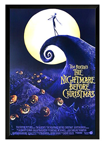 Tim Burton's-The Nightmare Before Christmas Framed Movie Poster Print 24×36. On a black frame. Made in USA.