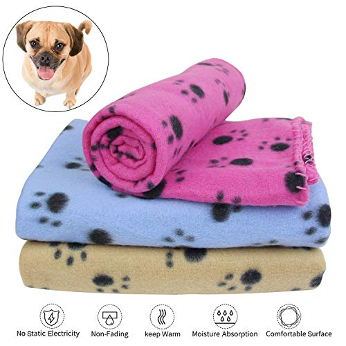 KYC 3 pack 40 x 28 '' Puppy Blanket Cushion Dog Cat Fleece Blankets Pet Sleep Mat Pad Bed Cover with Paw Print Kitten Soft Warm Blanket for Animals (Mixed A) by KYC (Image #2)