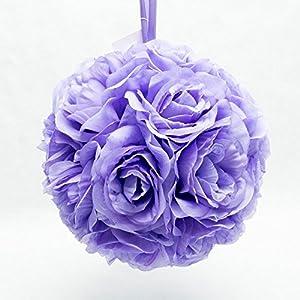 "Ben Collection 7"" Pomander Flower Kissing Ball Multi Color Home Wedding Decoration (1, Lavender) 25"