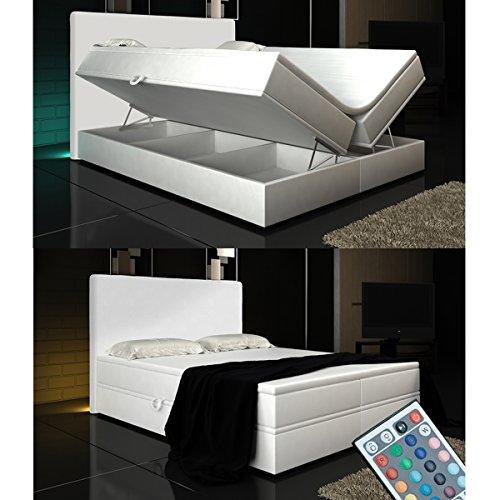 Boxspringbett weiß mit bettkasten  Wohnen-Luxus Boxspringbett Weiß Lift 160x200 inkl. 2 Bettkasten ...