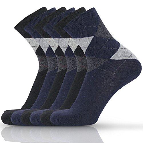 Eallco Mens 6 Pack Cotton Dress Crew Socks Argyle All Season Business Sock
