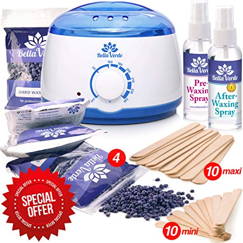 New Waxing Kit - Wax Warmer - Post-Wax Treatment Spray - Depilatory Wax - Hot Hard Scented Wax Warmers Electric Kit for Men - Women - Brazilian Eyebrow Home Body Waxing Kits - Prime (Best Waxing Kit For Men)