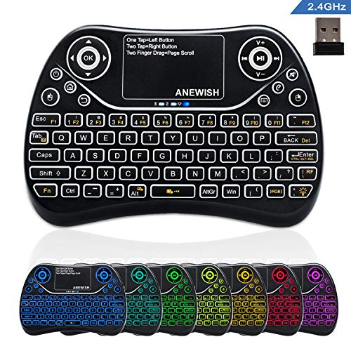 ANEWISH 2.4GHz Wireless Mini Keyboard Backlit RGB 7 Color with Touchpad Mouse Combo, Rechargable Compatible with PC,HTPC,Tablet,Smart TV,Projector,Android TV Box