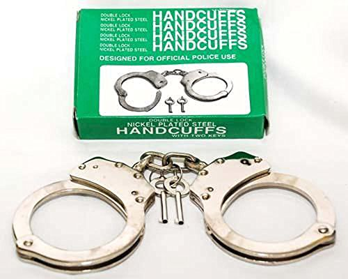 Official Tactical Police Security Silver Nickel Plated Steel High Quality Handcuffs Double Lock with 2 Keys