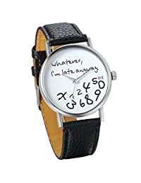 "Unisex Female Women Ladies Girls ""Whatever, I'm late anyway"" Love Gift Leather Strap Watches Quartz Wrist Watch"
