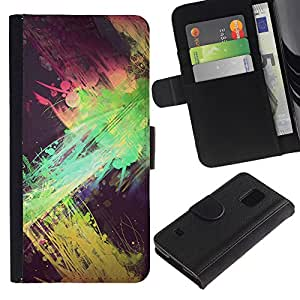 Billetera de Cuero Caso Titular de la tarjeta Carcasa Funda para Samsung Galaxy S5 V SM-G900 / green splatter paint street art yellow / STRONG