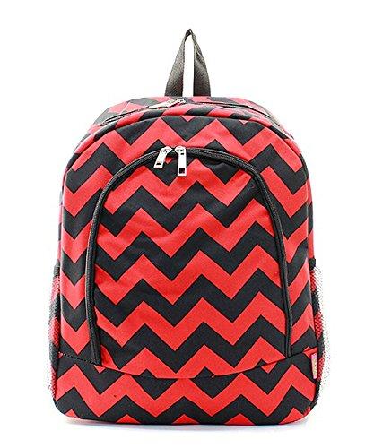 Chevron Stripe Print Zipper Backpack Handbag Red and Black