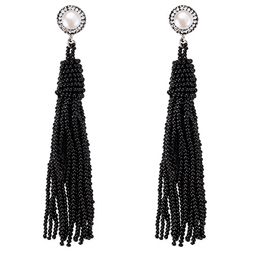 Anni Coco Women's Chic Long Fringe Dangle Pearl Beaded Tassel Earrings Black - Pearl Fringe Earrings