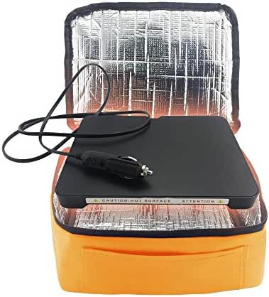 YIBOSS MINI Electric Portable Oven Work With Flat-Bottomed Hot Plate (Orange for 12V Car)