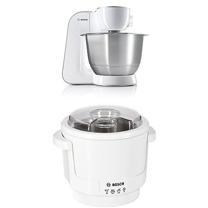 Bosch MUM54270DE Küchenmaschine (900 W, 3,9 l, edelstahlrührschüssel, Würfelschneider) weiß/silber + MUZ5EB2 Eisbereiter Küch