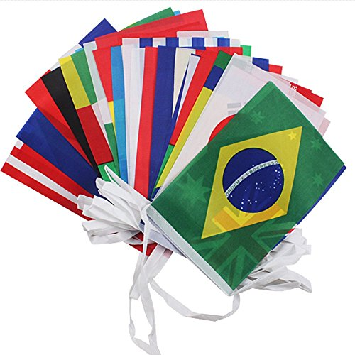 G2PLUS 36 Feet World Cup Top 32 String Flag Banners International Flag Bunting 8'' x 12'' for Bar Party Decorations (32 Countries Flags)