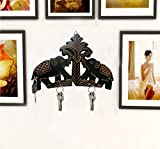Valentine Day Special Present, Wooden 2 Elephant Key Holder, Key Hangers, 5 Hooks Hangers, Wall Hangers For Key, Key Wall Holder, Black Color Size 9 X 6 Inch
