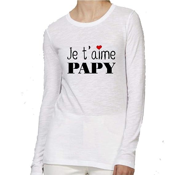 T Shirt Premium Manche Longue Col Rond Je T Aime Papy