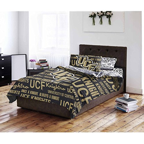 4 Piece Ncaa Ucf Knights Comforter With Sheets Twin Set  Black Gold Sports Patterned  Collegiate Football Themed Bedding  Team Logo Fan Merchandise Athletic Team Spirit Fan  Polyester  For Unisex