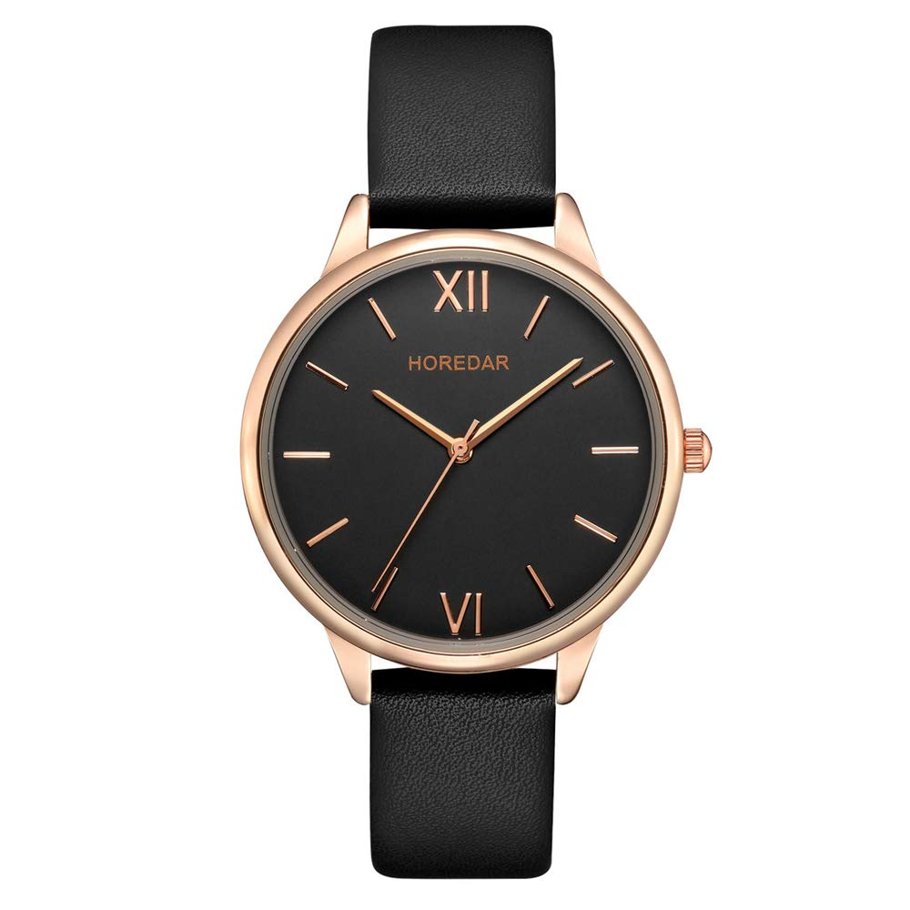 Amazon.com: Leather Watch for Women Easy Reader Quartz Analog Ladies Wrist Watch with Elegant Rose Gold Watch Case (Black): Watches