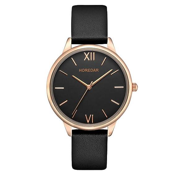 Leather Watch for Women Easy Reader Quartz Analog Ladies Wrist Watch with Elegant Rose Gold Watch