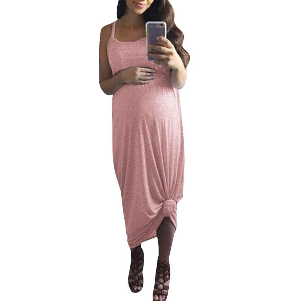 Mymyguoe Schwangerschaftskleid Damen Umstandsmode Kleid Umstandskleid Schwangere Elegante Spaghetti Strap Normallack Schulterfrei Rundhals Mutterschaft Kleider Langarm Maxi Kleid