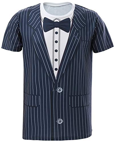 (Funny World Men's Striped Tuxedo T-Shirts (XL, Bow tie) )