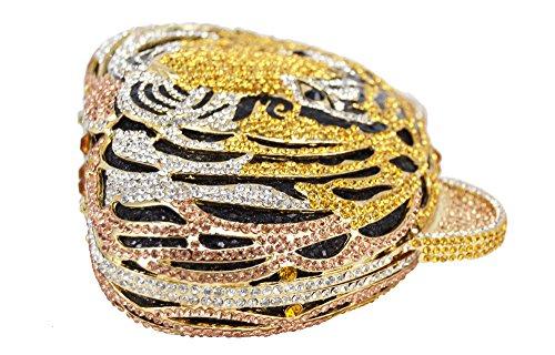 Lady Dazzle Full Diamond Clutch Tiger Head Evening Bag Bling Rhinestone Chain Cross Body Bag Animal Purse (Gold 1) by nice--buy (Image #6)