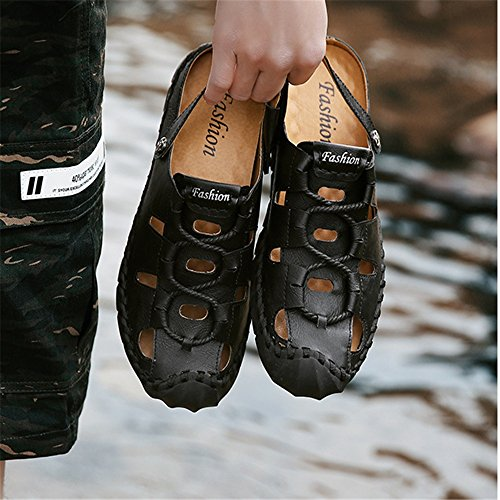 Sandalias Casuales para Transpirables Cuero Color Libre Negro tamaño Colisión Sandalias Negro Hombre EU Zapatos Zapatos Aire Al De Wangcui 42 Sxq5AwdIS