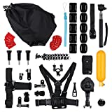 Gopro Accessories,Six-qu Hero kits Outdoor Accessories for GoPro Hero1/2/3/3+/4 SJ4000/5000/6000 (19items)