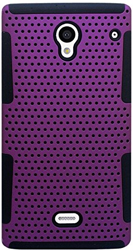 Eagle Cell Sharp Aquos Crystal Hybrid TPU Mesh Net Case - Retail Packaging - Black/Purple