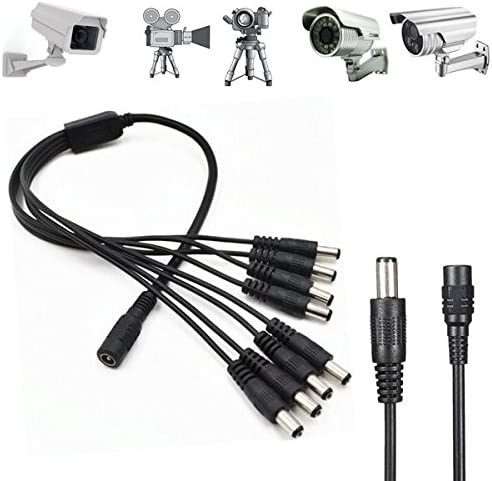 DC 1 Female to 8 Male Home Security System Camera Power Supply Cable Splitter