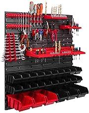 26 Stapelboxen, gereedschapshouder, wandrek, werkplaatsrek, gereedschapswand, 78 x 78 cm, gereedschapshouder, opslagsysteem, opbergsysteem, opbergkast, extra sterke wandplaten, uitbreidbaar, werkplaatsrek, magazijn