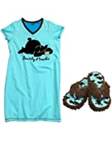 Valentines Gift Set: Lazy One Bear Print Nightshirt & Slippers