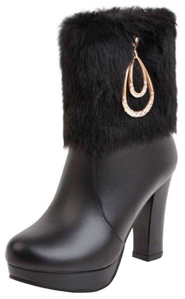 Mofri Women's Sweet Rhinestone Faux Fur Chunky High Heel Ankle Booties Round Toe Platform Side Zipper Short Snow Boots (Black, 8 B(M) US)