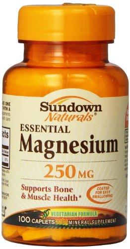 Sundown Naturals Magnesium, 250 mg, 100 - Mg Magnesium 250 Caplets
