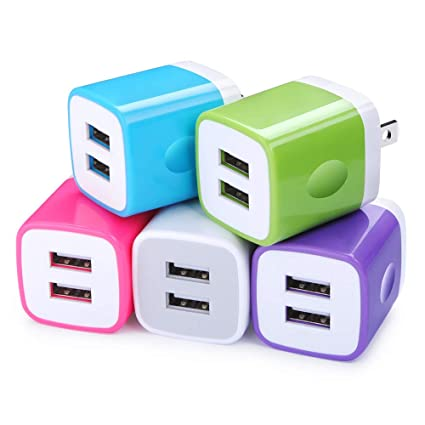 Charging Block, FiveBox 5Pack Dual Port 2.1A USB Wall Charger USB Power Adapter Charger Brick Base Charging Cube Plug Charger Box Compatible iPhone Xs ...