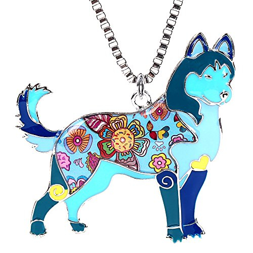 Siberian Husky Necklace for Women Personalized Dog Pendants and Charms Enamel Gifts Jewelry